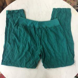 Cut Loose Linen Pants - Teal -  Flowing - MEDIUM